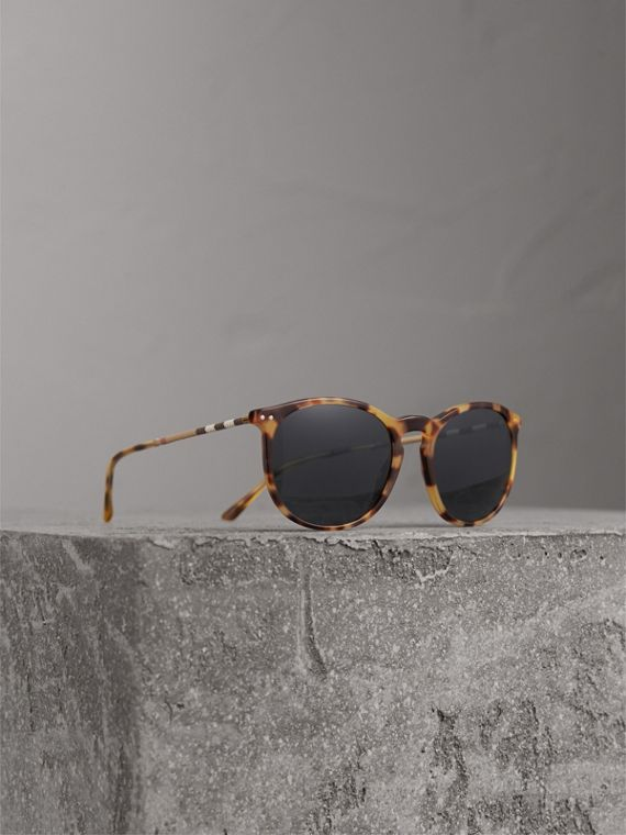 Check Detail Round Frame Sunglasses in Dark Brown - Men | Burberry Canada