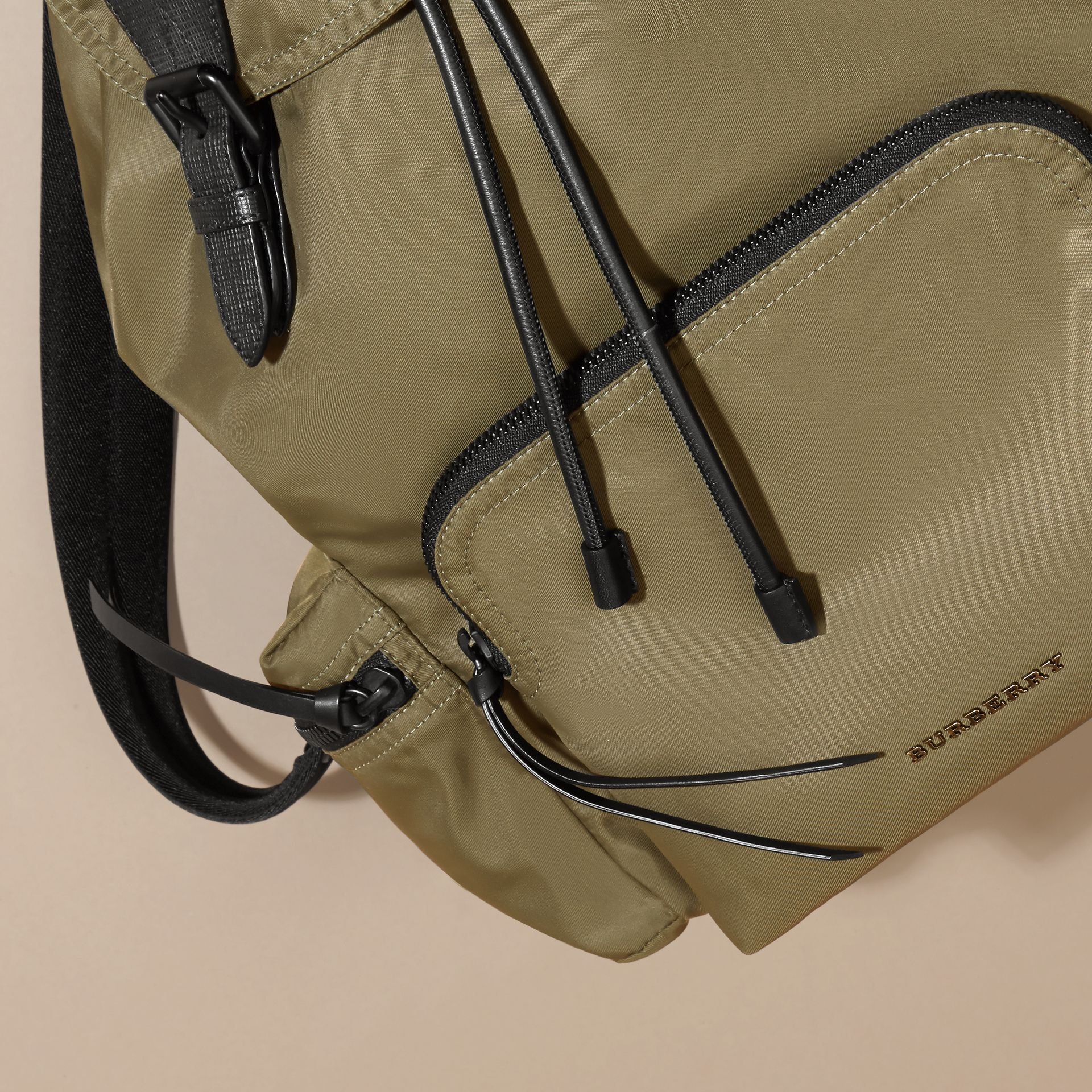 The Large Rucksack in Technical Nylon and Leather Canvas Green - gallery image 7