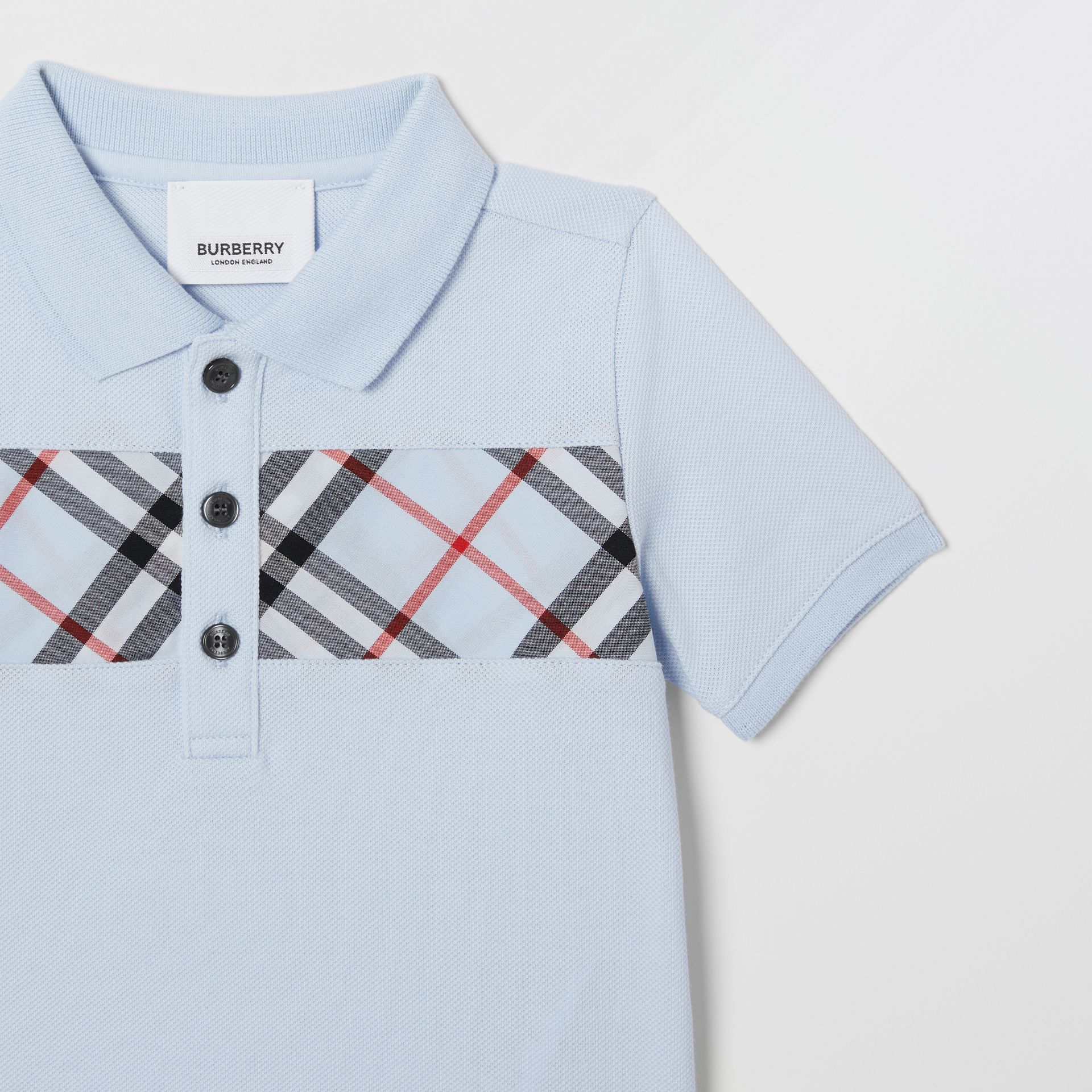 Vintage Check Panel Cotton Polo Shirt in Light Blue - Children | Burberry United Kingdom - gallery image 4