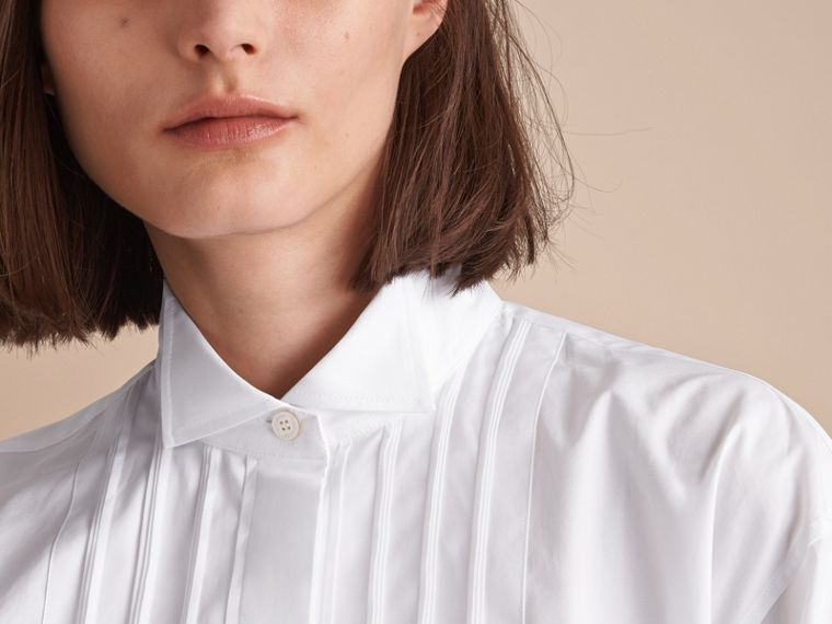 Tie-waist Wing Collar Cotton Poplin Shirt Dress in White - Women | Burberry - cell image 4
