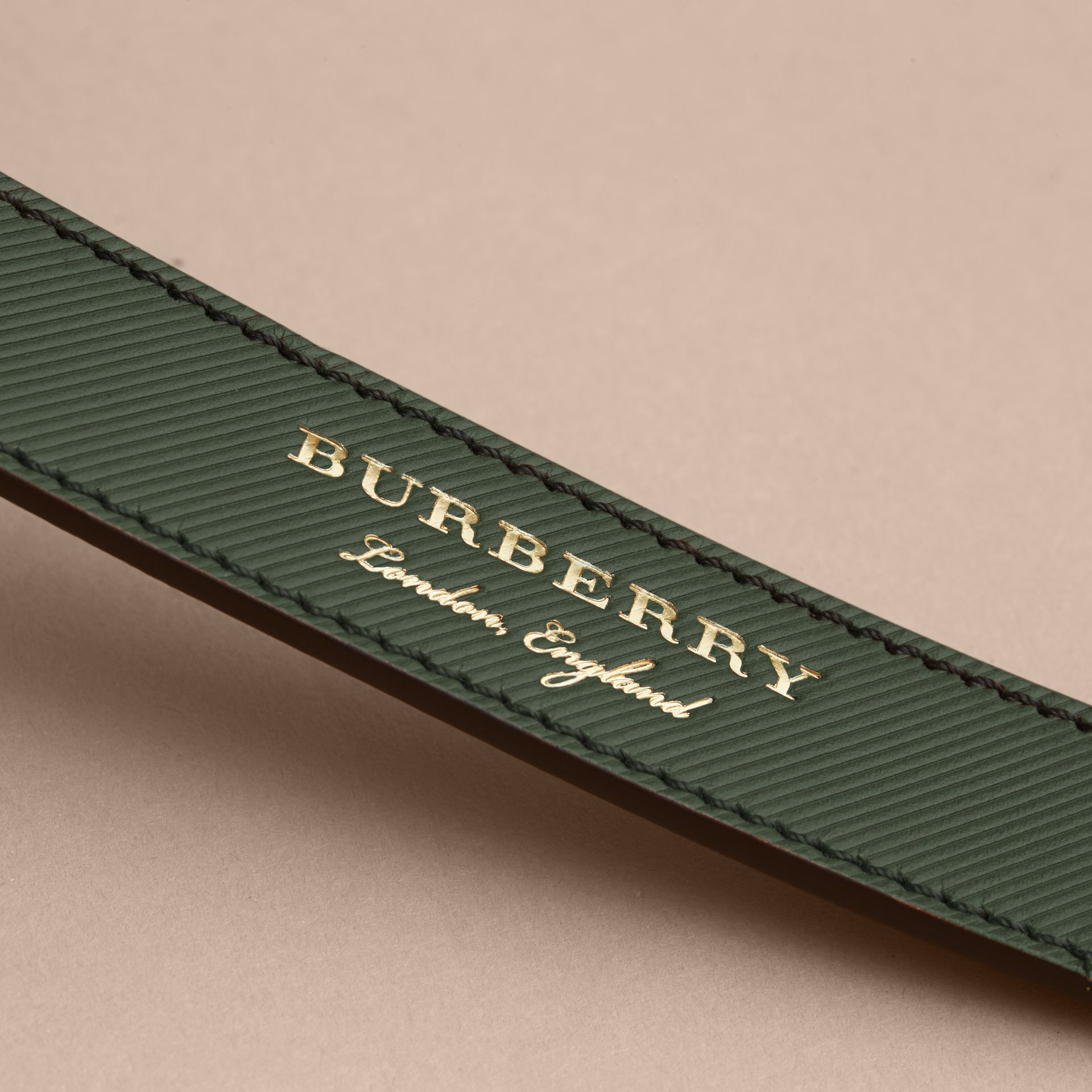 Trench Leather Belt in Dark Forest Green - Men | Burberry Canada - gallery image 2