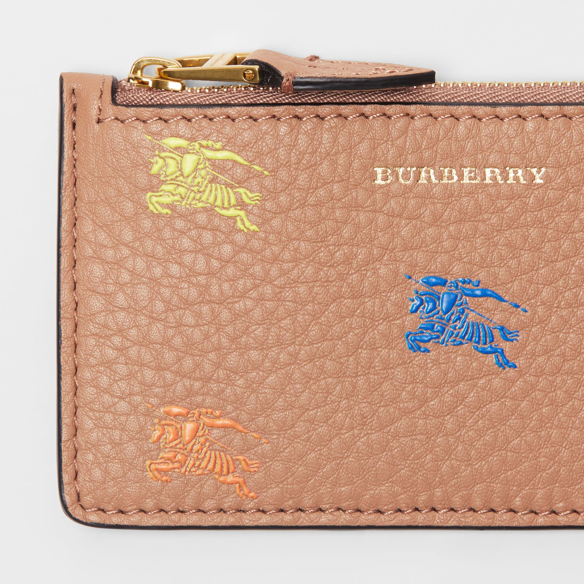 Equestrian Knight Leather Zip Card Case in Light Camel - Women | Burberry Singapore - gallery image 1