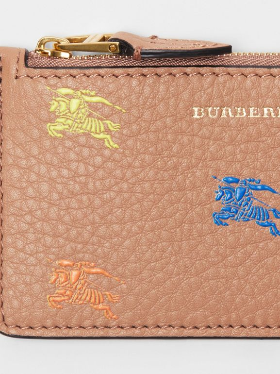 Equestrian Knight Leather Zip Card Case in Light Camel - Women | Burberry - cell image 1
