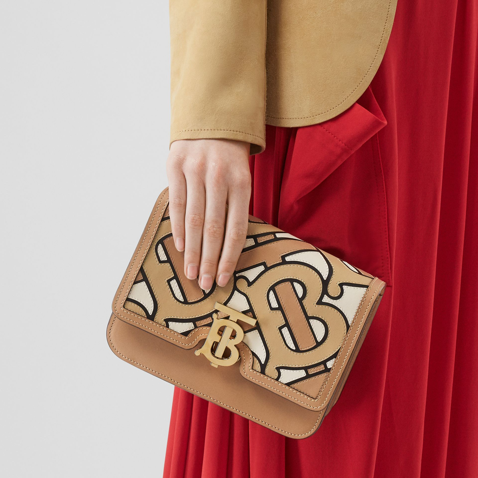Small Monogram Intarsia Leather TB Bag in Beige - Women | Burberry United Kingdom - gallery image 2
