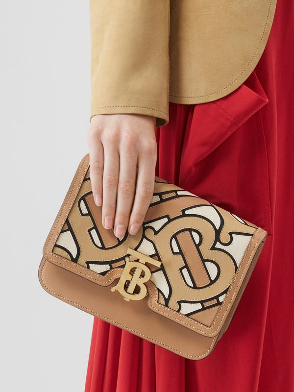 Small Monogram Intarsia Leather TB Bag in Beige - Women | Burberry United States - cell image 2