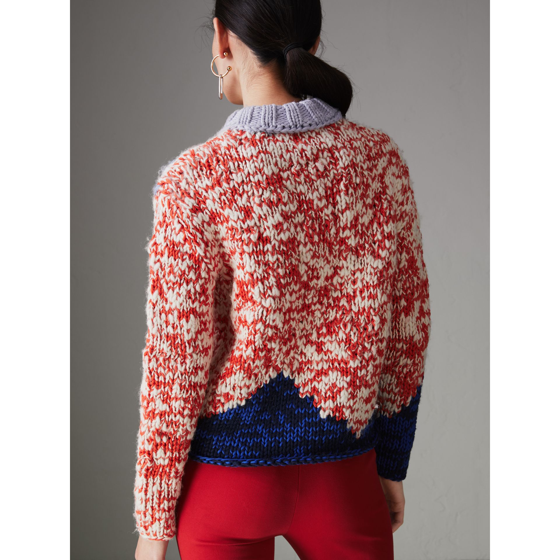 Chunky Knit Wool Blend Sweater in Bright Red - Women | Burberry - gallery image 2