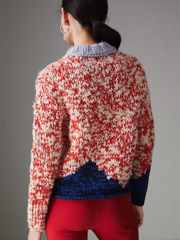 Chunky Knit Wool Blend Sweater in Bright Red - Women | Burberry Australia - cell image 2