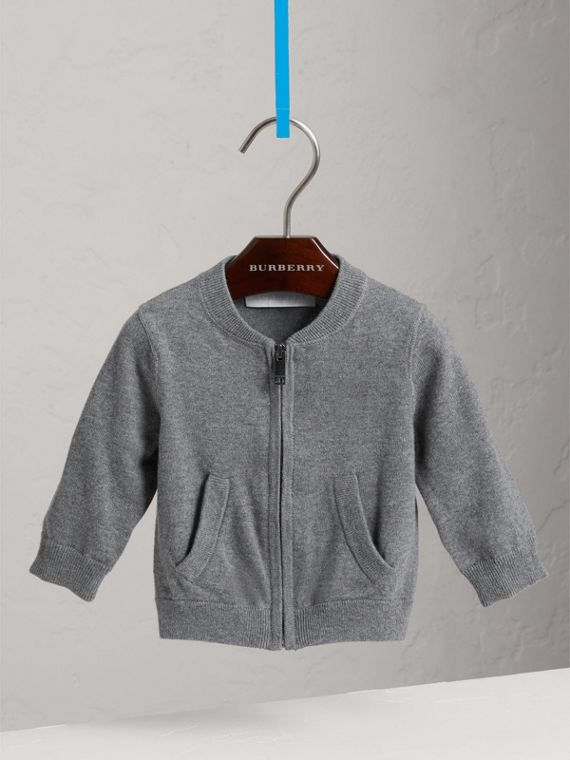 Check Detail Cotton Cardigan in Mid Grey Melange
