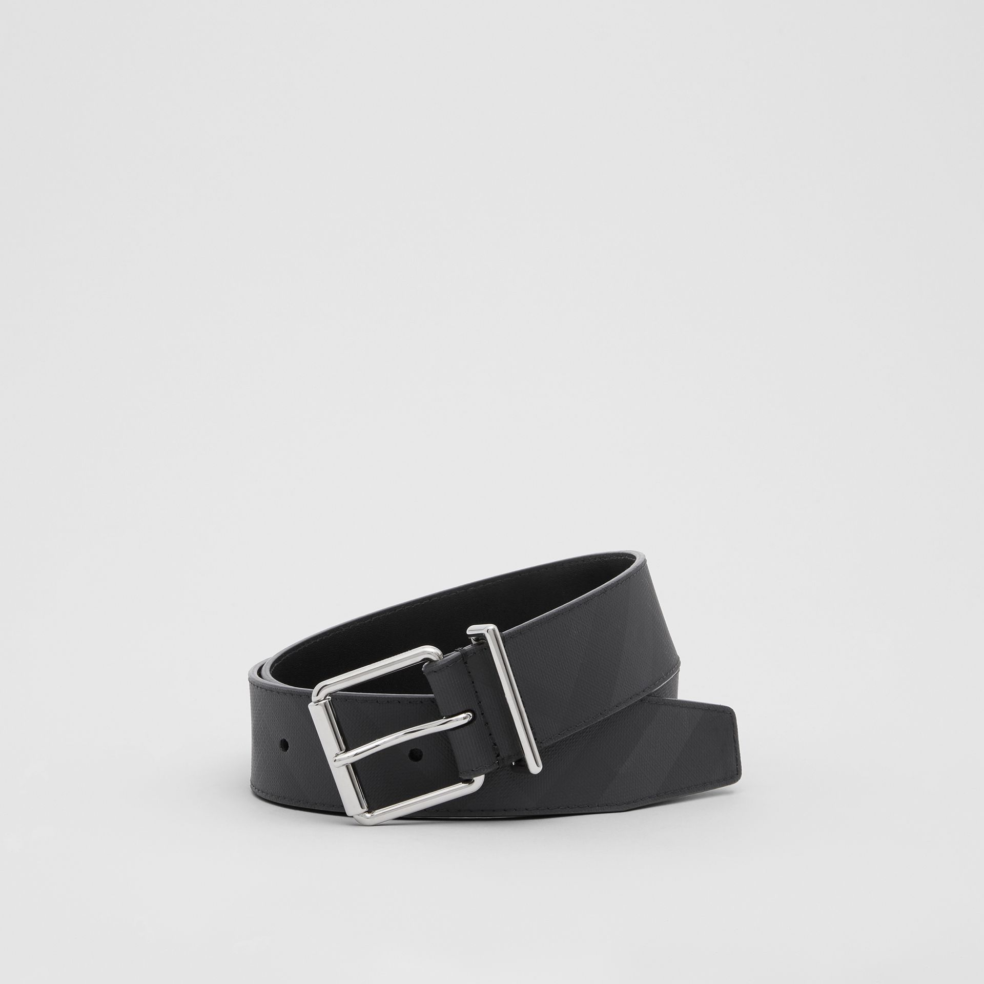 London Check and Leather Belt in Dark Charcoal - Men | Burberry - gallery image 0