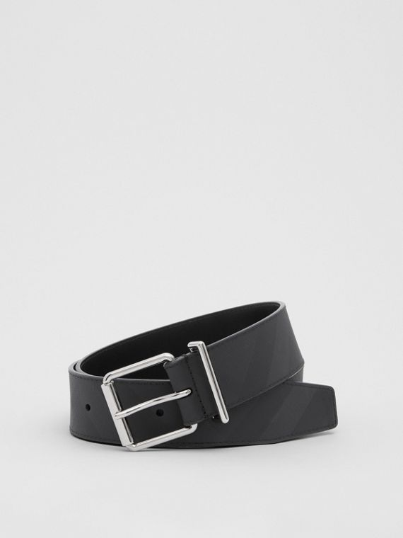 London Check and Leather Belt in Dark Charcoal