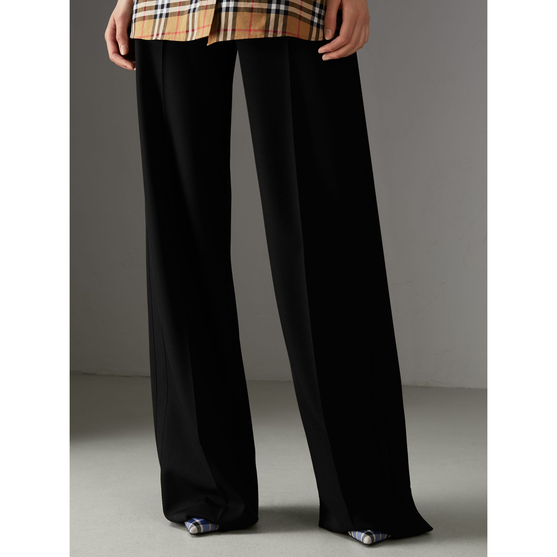 High-waisted Wool Trousers in Black - Women | Burberry - gallery image 4