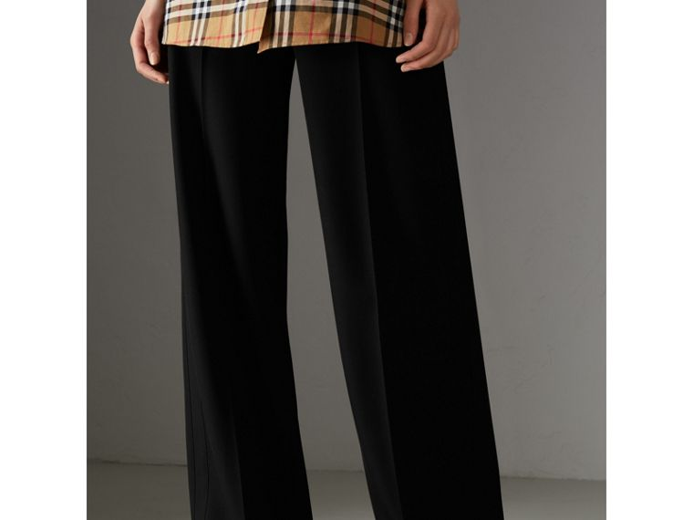 High-waisted Wool Trousers in Black - Women | Burberry Singapore - cell image 4
