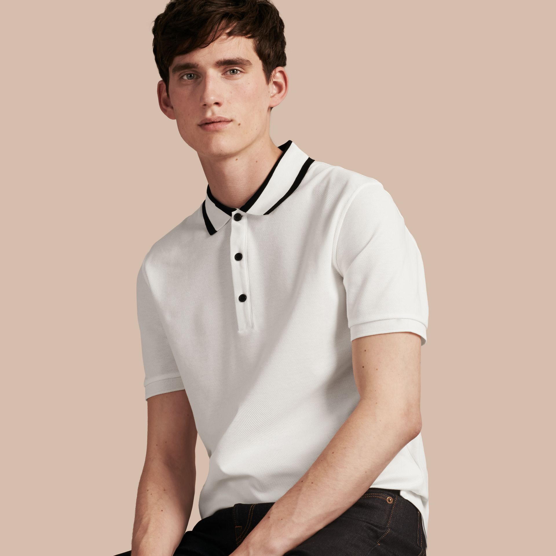 Striped Collar Cotton Piqué Polo Shirt White - gallery image 1