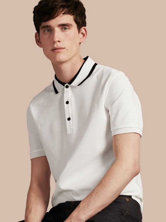 Striped Collar Cotton Piqué Polo Shirt White