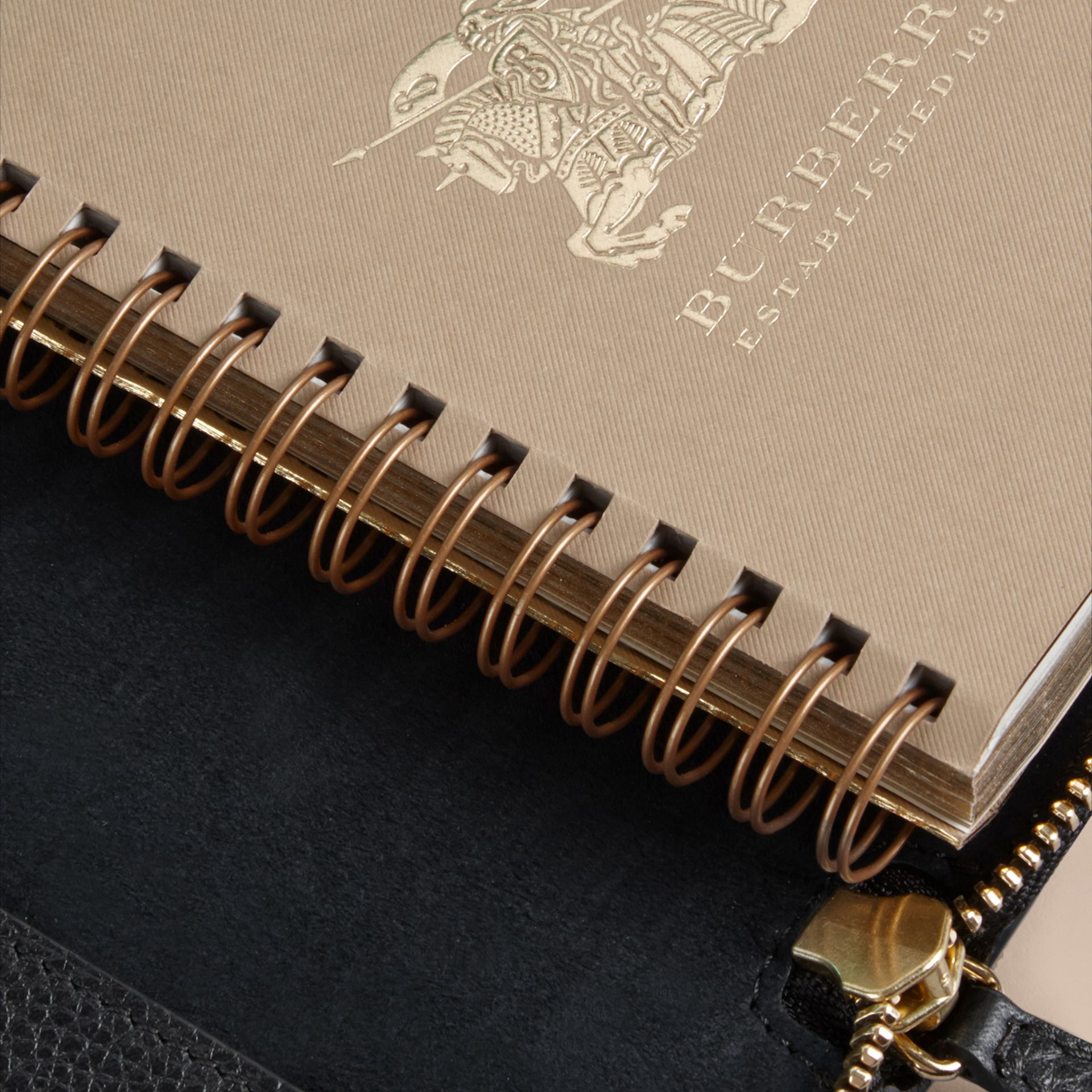 Ziparound Grainy Leather Mini Notebook in Black - gallery image 5