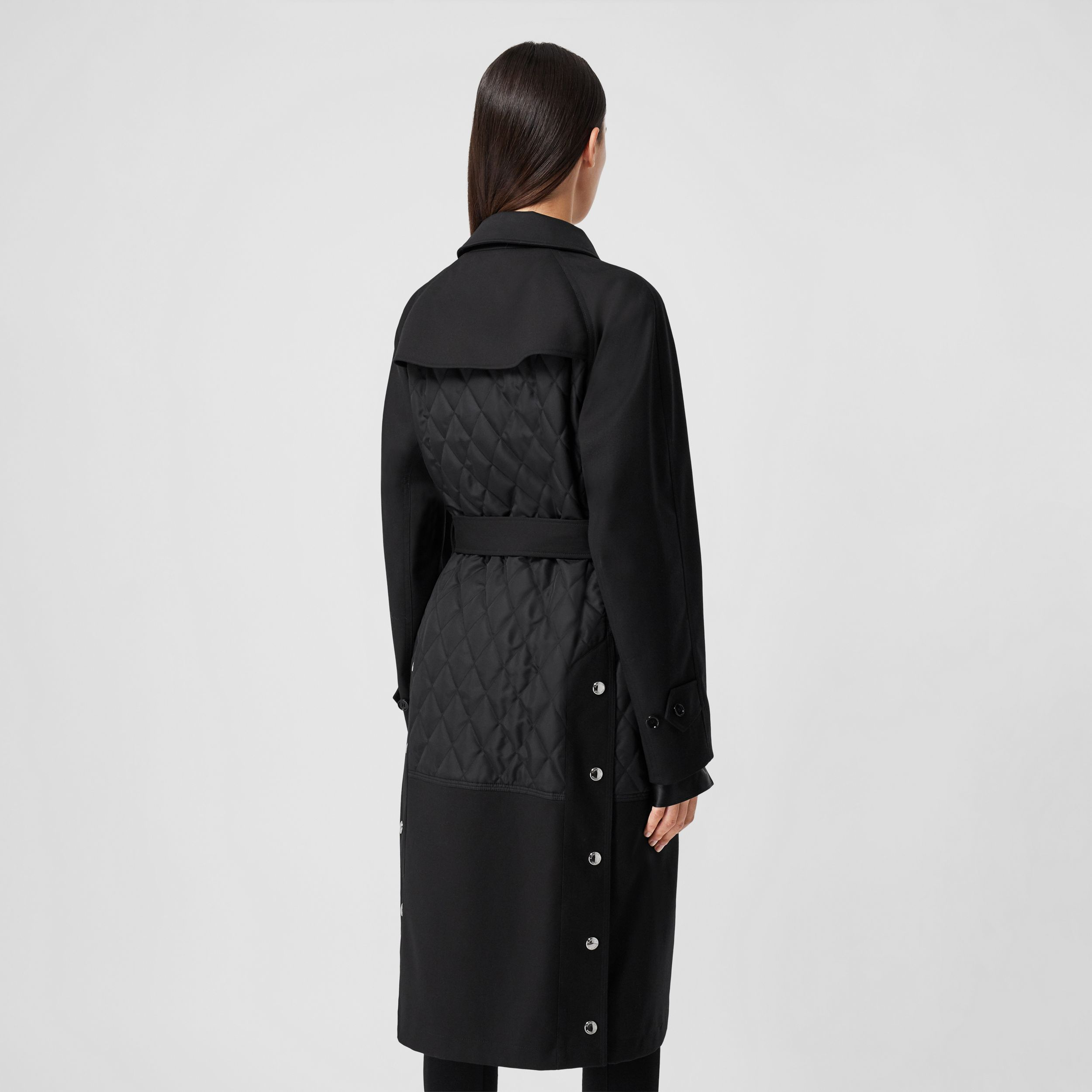 Diamond Quilted Panel Cotton Gabardine Car Coat in Black - Women | Burberry - 3