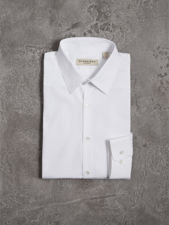 Modern Fit Stretch Cotton Shirt in White - Men | Burberry - cell image 3