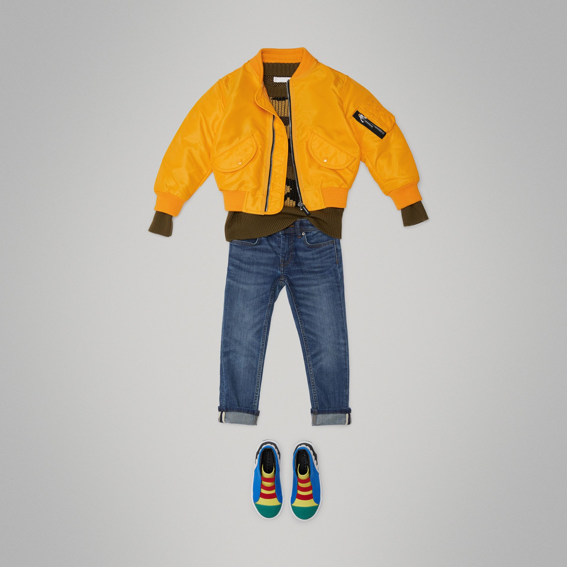 Lightweight Nylon Bomber Jacket in Bright Yellow - Children | Burberry - gallery image 2