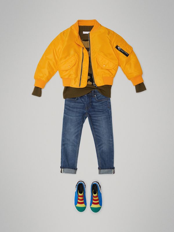 Lightweight Nylon Bomber Jacket in Bright Yellow - Children | Burberry - cell image 2