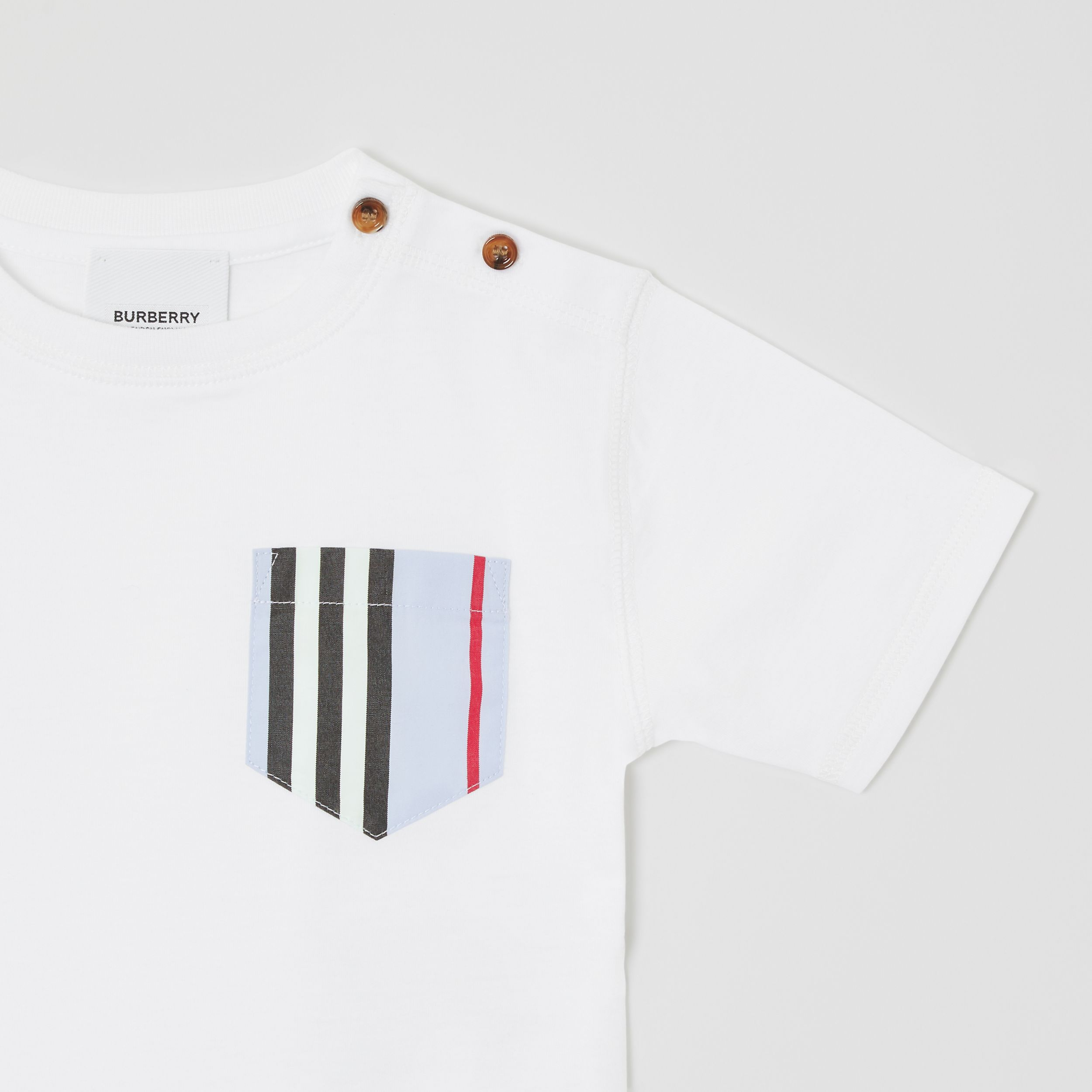 Icon Stripe Pocket Cotton T-shirt in White/pale Blue - Children | Burberry - 4