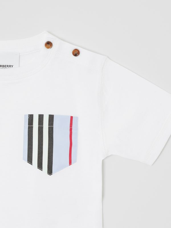 Icon Stripe Pocket Cotton T-shirt in White/pale Blue - Children | Burberry - cell image 3