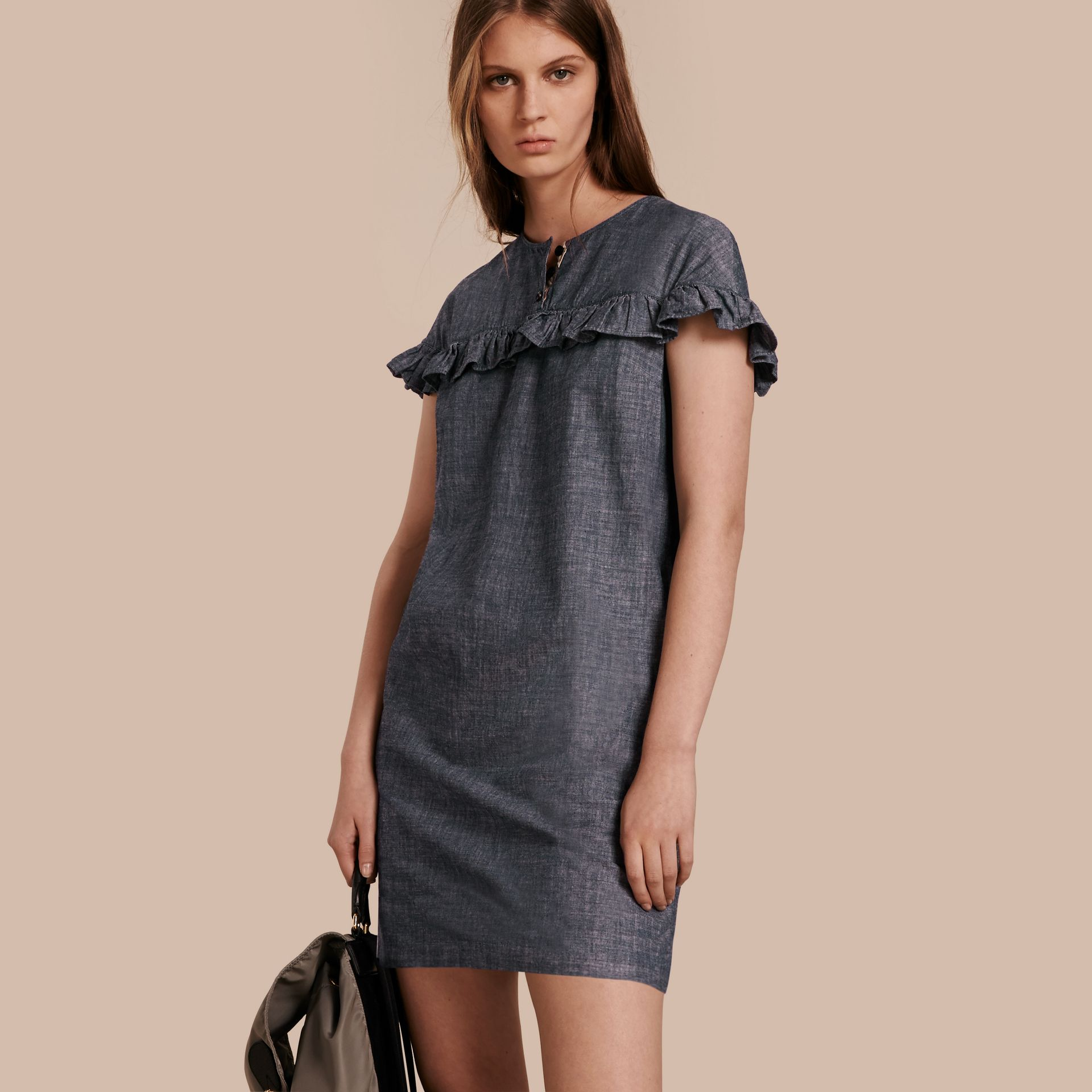 Light indigo Ruffle Trim Cotton Chambray Shift Dress - gallery image 1