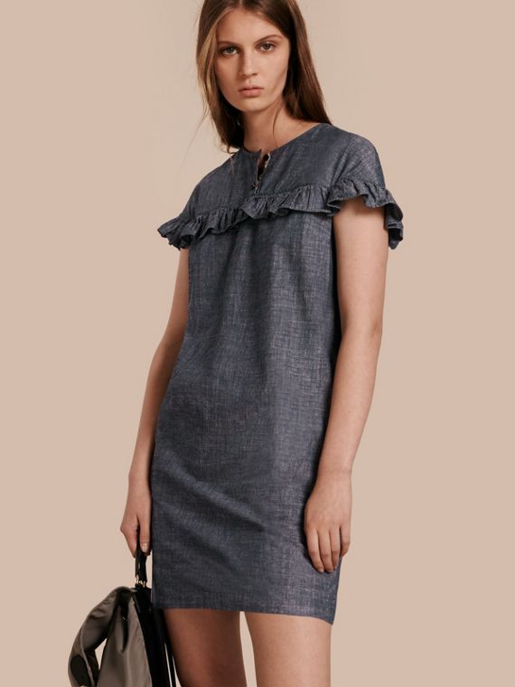 Ruffle Trim Cotton Chambray Shift Dress