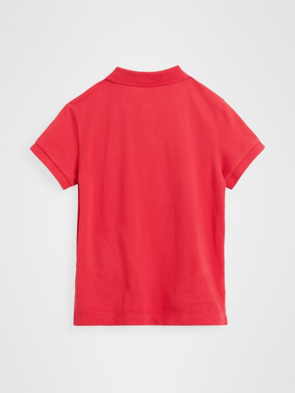 EKD Logo Cotton Piqué Polo Shirt in Bright Red | Burberry - cell image 3