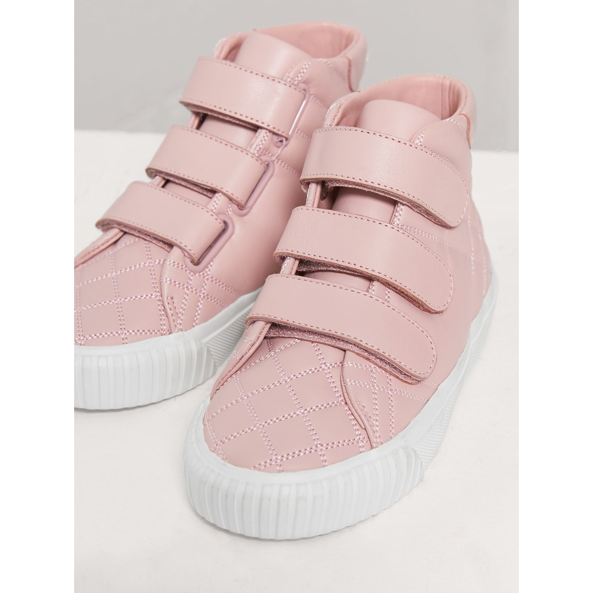 Check-quilted Leather High-top Sneakers in Light Pink Melange - Children | Burberry - gallery image 3