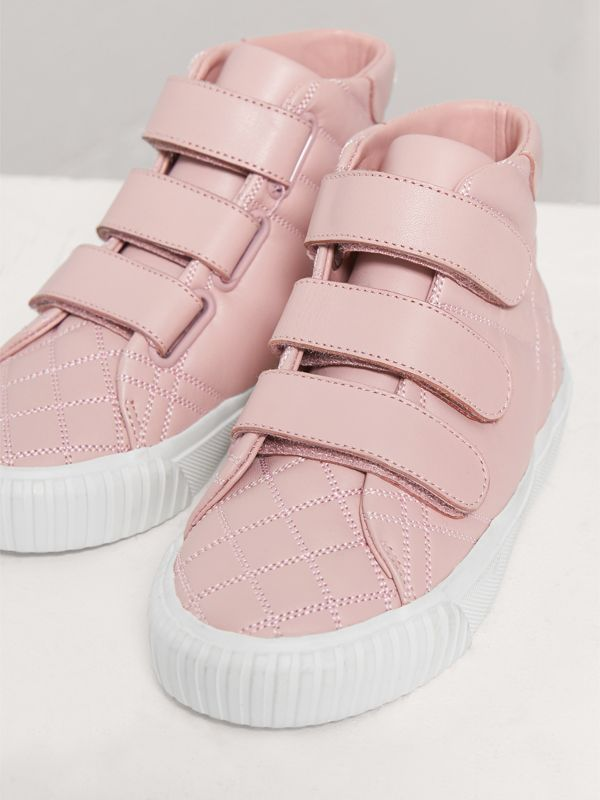 Check-quilted Leather High-top Sneakers in Light Pink Melange - Girl | Burberry - cell image 3