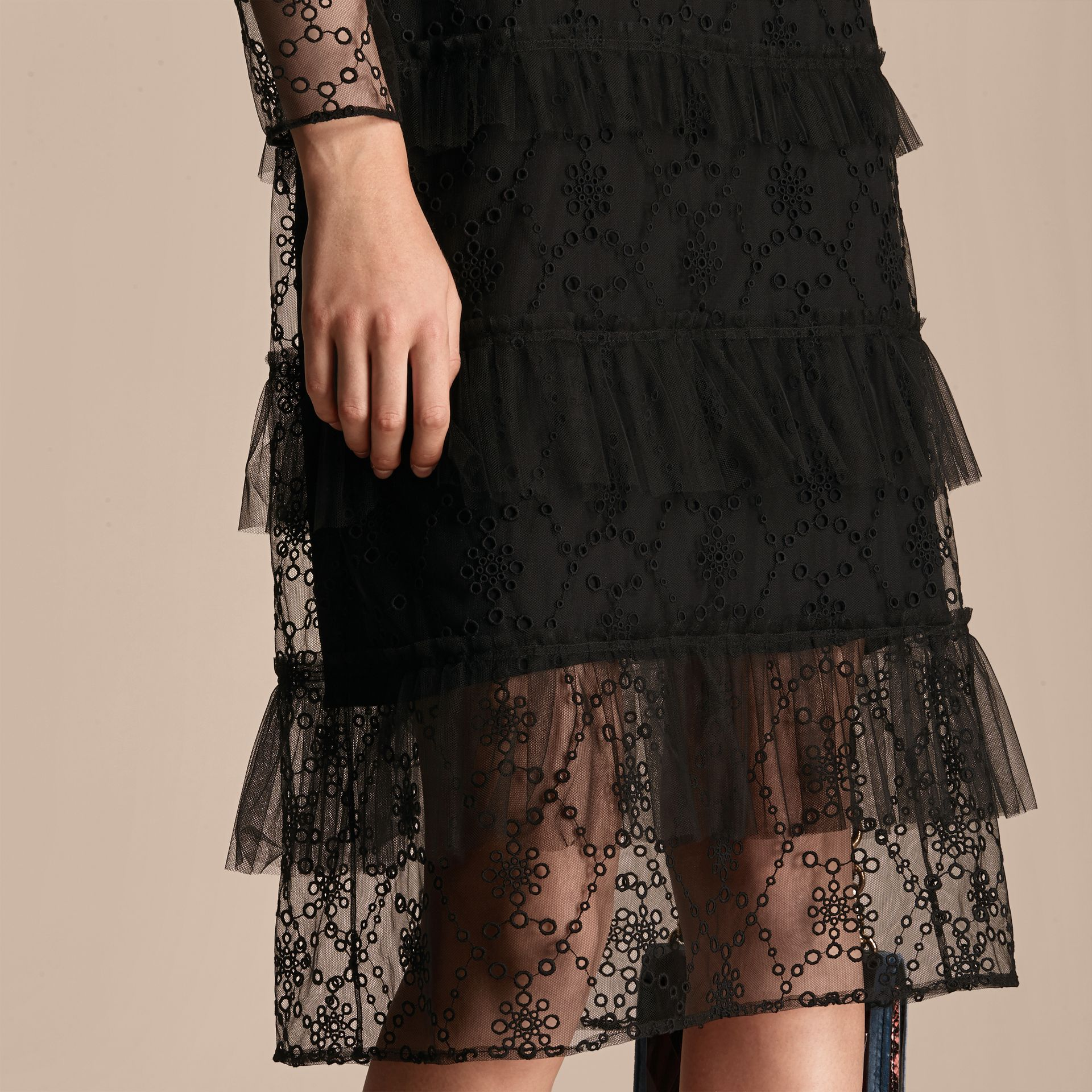 Black Embroidered Tulle Tiered Dress - gallery image 6