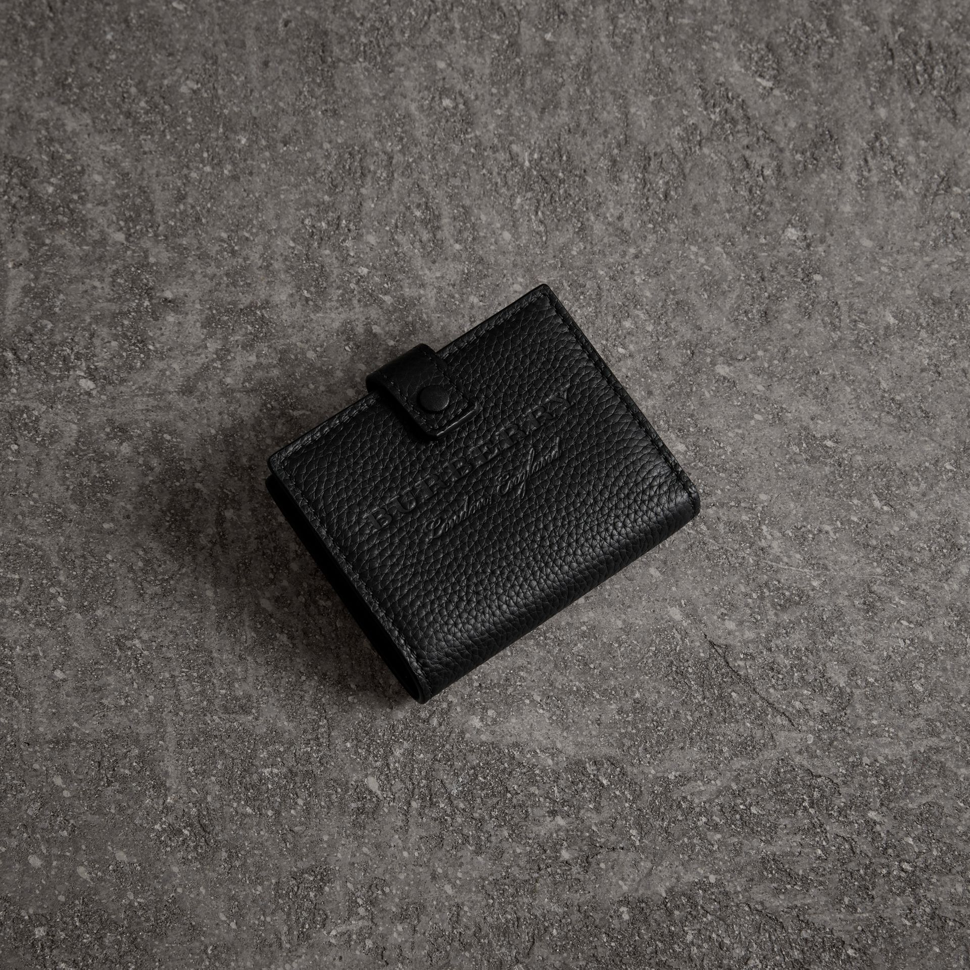 Embossed Leather Folding Wallet in Black - Women | Burberry Australia - gallery image 0