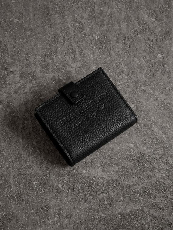 Embossed Leather Folding Wallet in Black