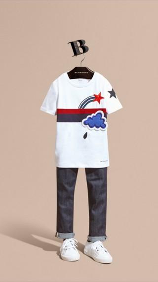 Appliquéd Weather Graphic Cotton T-shirt