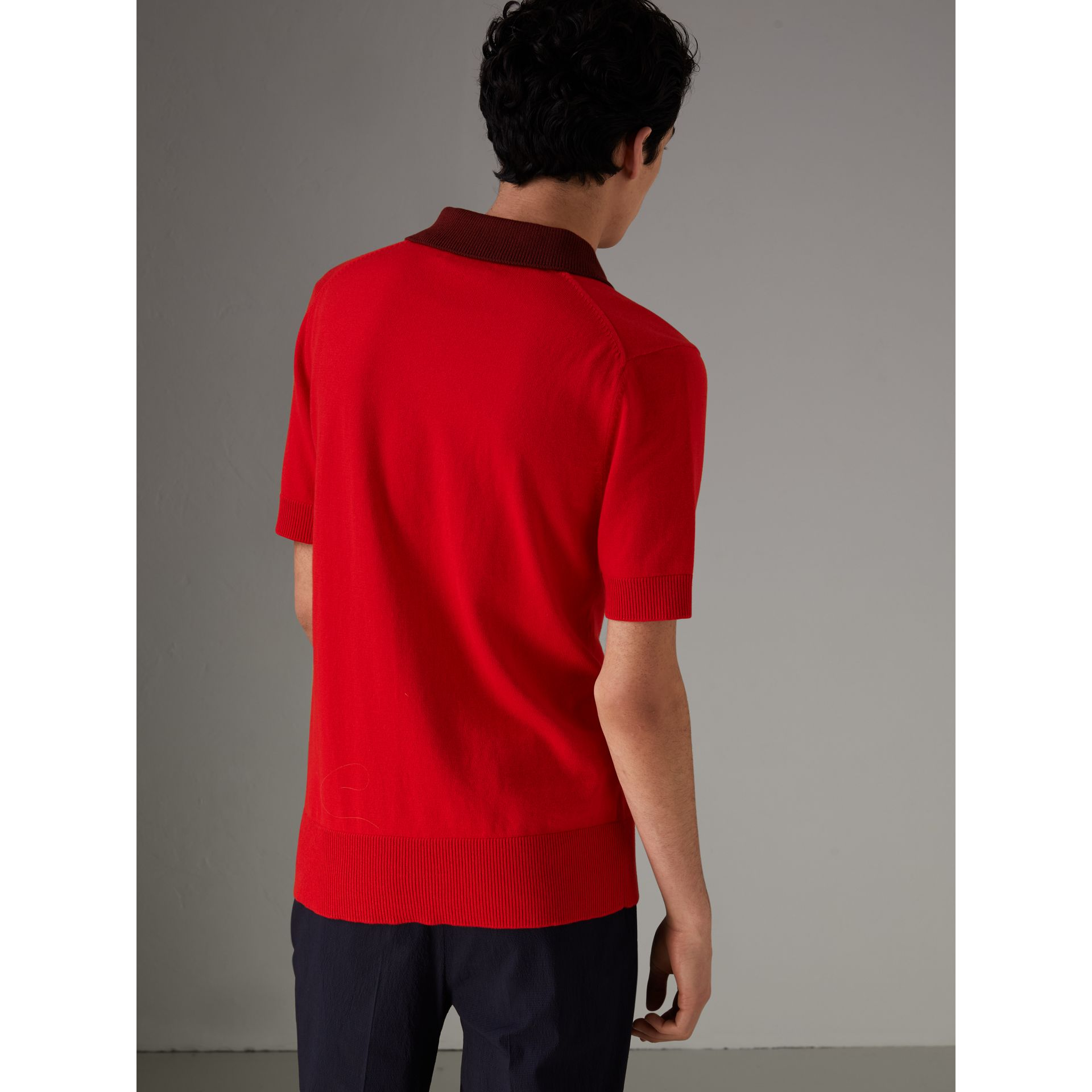 Two-tone Knitted Cotton Polo Shirt in Bright Red - Men | Burberry - gallery image 2