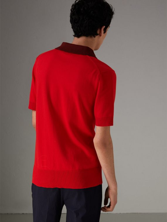 Two-tone Knitted Cotton Polo Shirt in Bright Red - Men | Burberry Australia - cell image 2