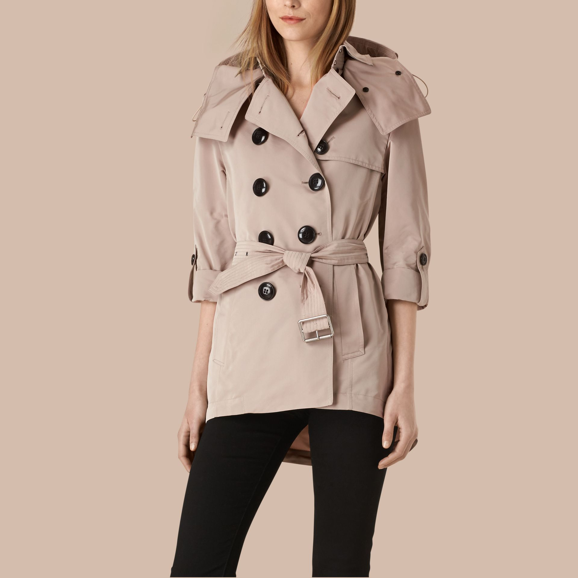 Stone Showerproof Trench Coat with Detachable Hood - gallery image 1