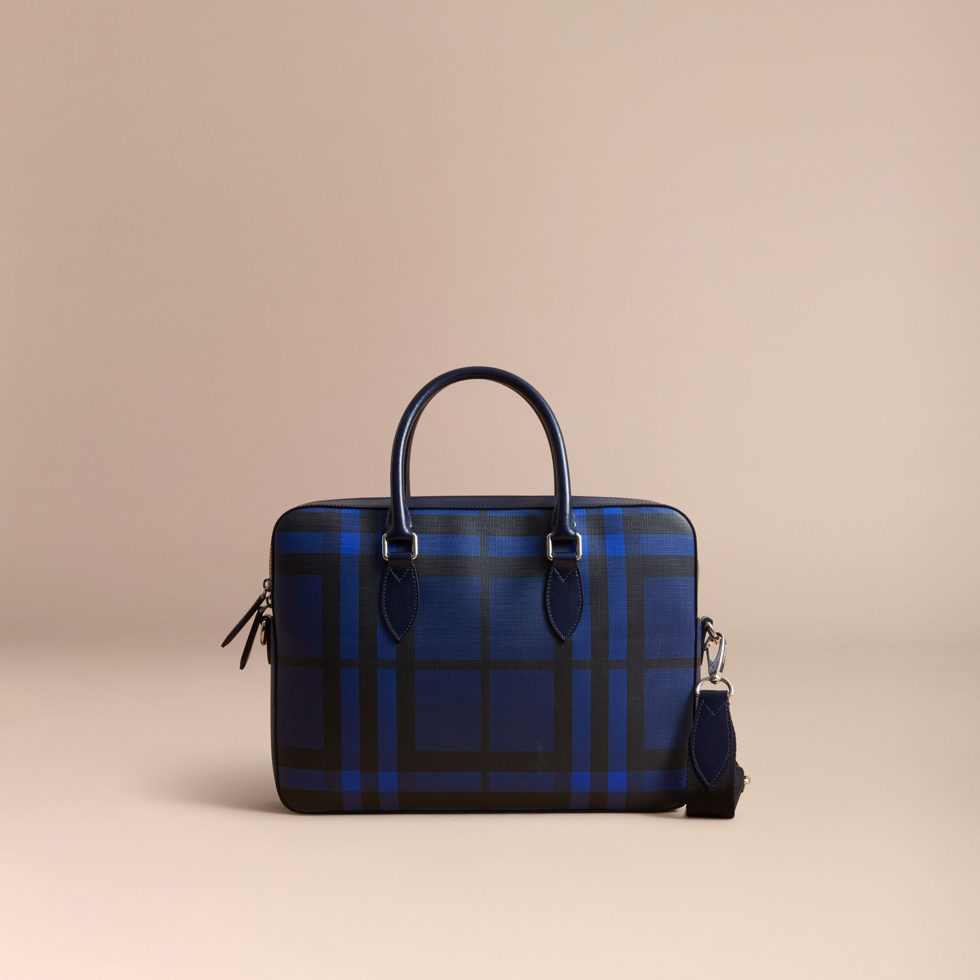 Medium Leather Trim London Check Briefcase in Bright Lapis - Men | Burberry - gallery image 8