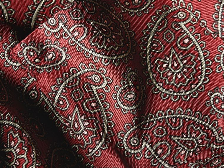 Berry red Paisley Print Panama Silk Dressing Gown Coat - cell image 1