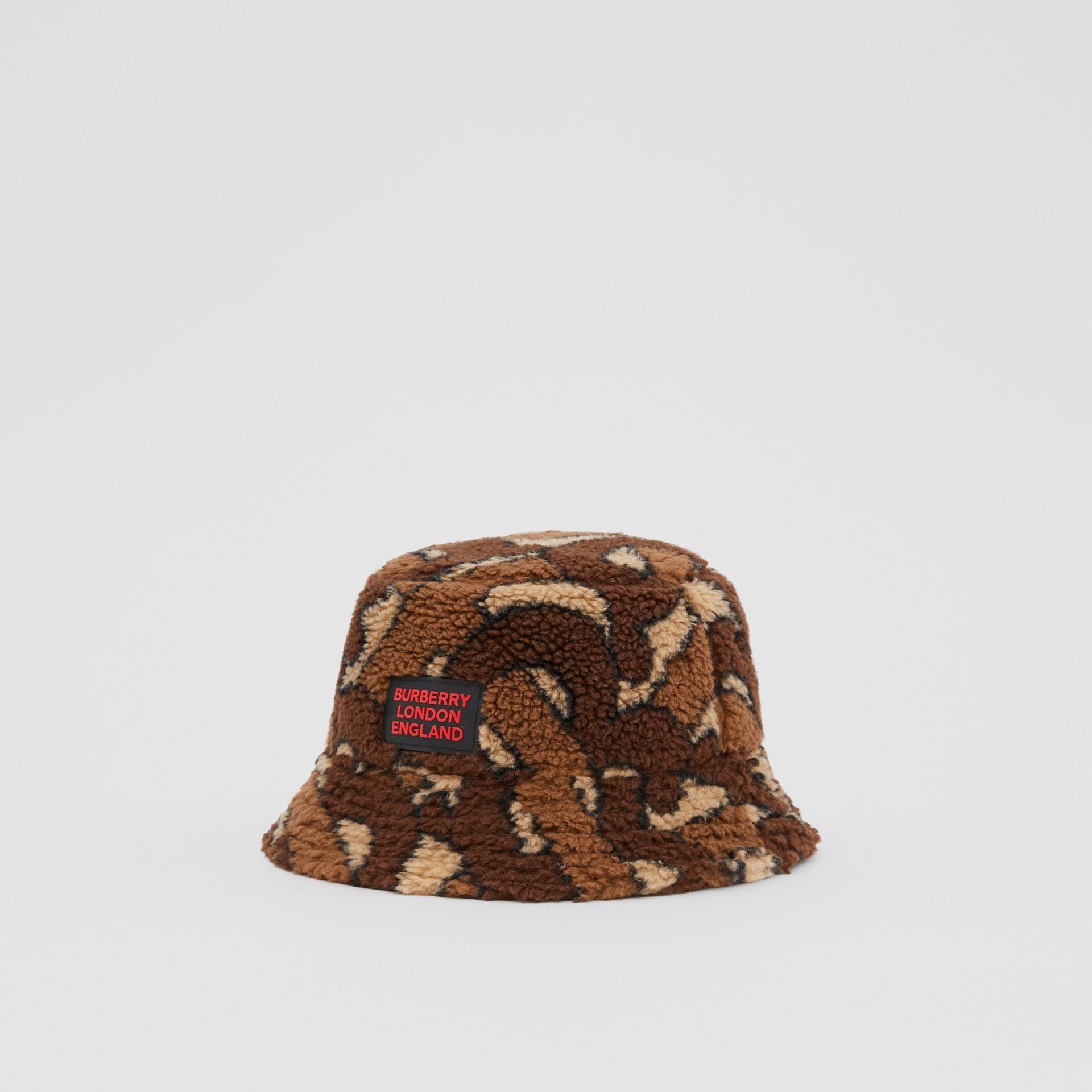 Monogram Fleece Bucket Hat in Bridle Brown | Burberry - gallery image 4