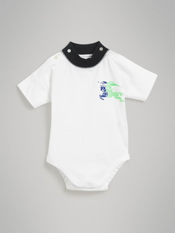 Equestrian Knight Print Cotton Bodysuit in Navy