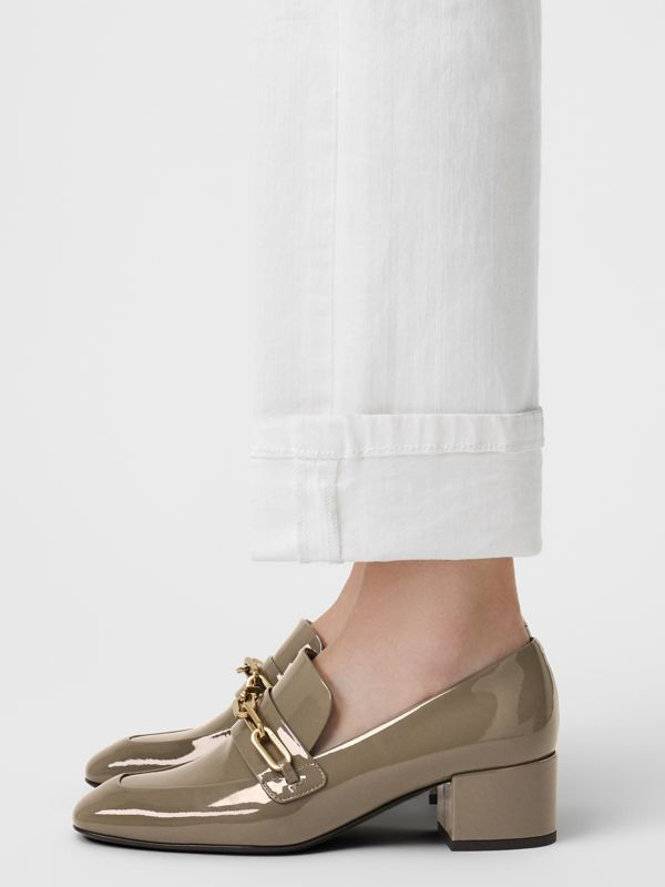 Link Detail Patent Leather Block-heel Loafers in Taupe Grey - Women | Burberry - cell image 2