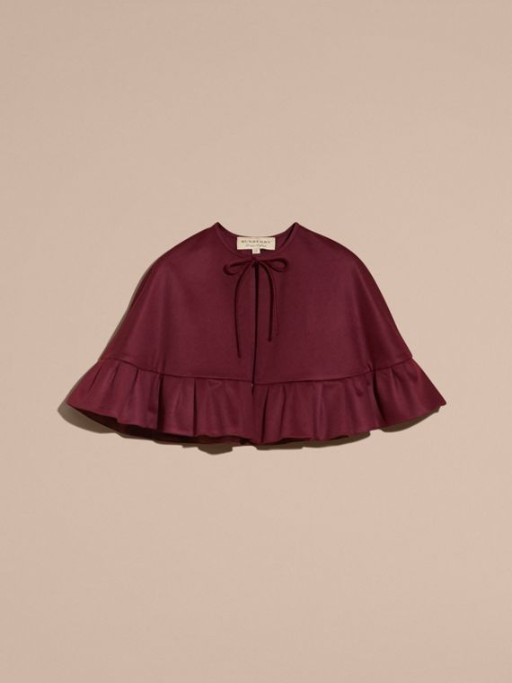 Ruffle Hem Cashmere Cape in Burgundy - cell image 3