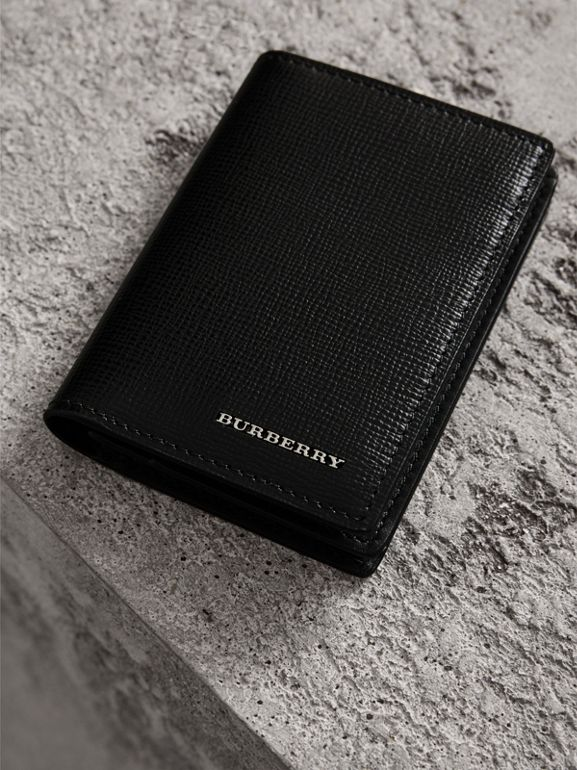 London Leather Folding Card Case in Black | Burberry - cell image 1