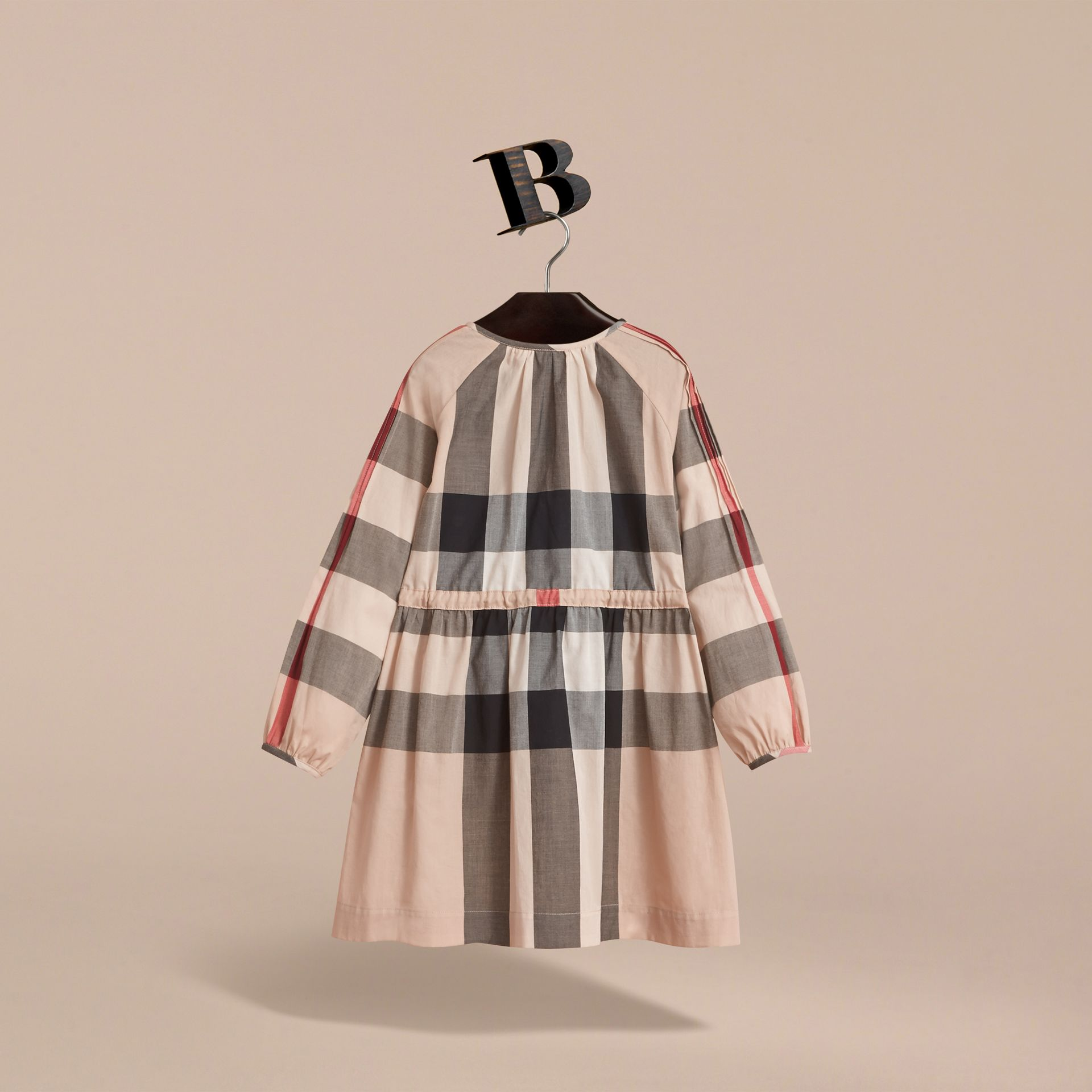 Collarless Check Drawcord Cotton Voile Dress in New Classic - Girl | Burberry Canada - gallery image 4