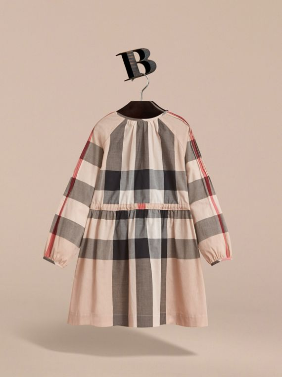 Collarless Check Drawcord Cotton Voile Dress in New Classic - Girl | Burberry - cell image 3