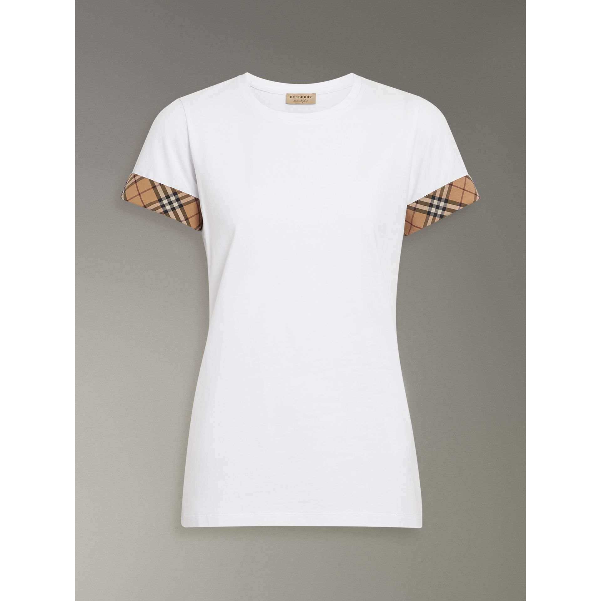Check Detail Stretch Cotton T-shirt in White - Women | Burberry - gallery image 3