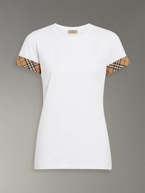 Check Detail Stretch Cotton T-shirt in White - Women | Burberry - cell image 3