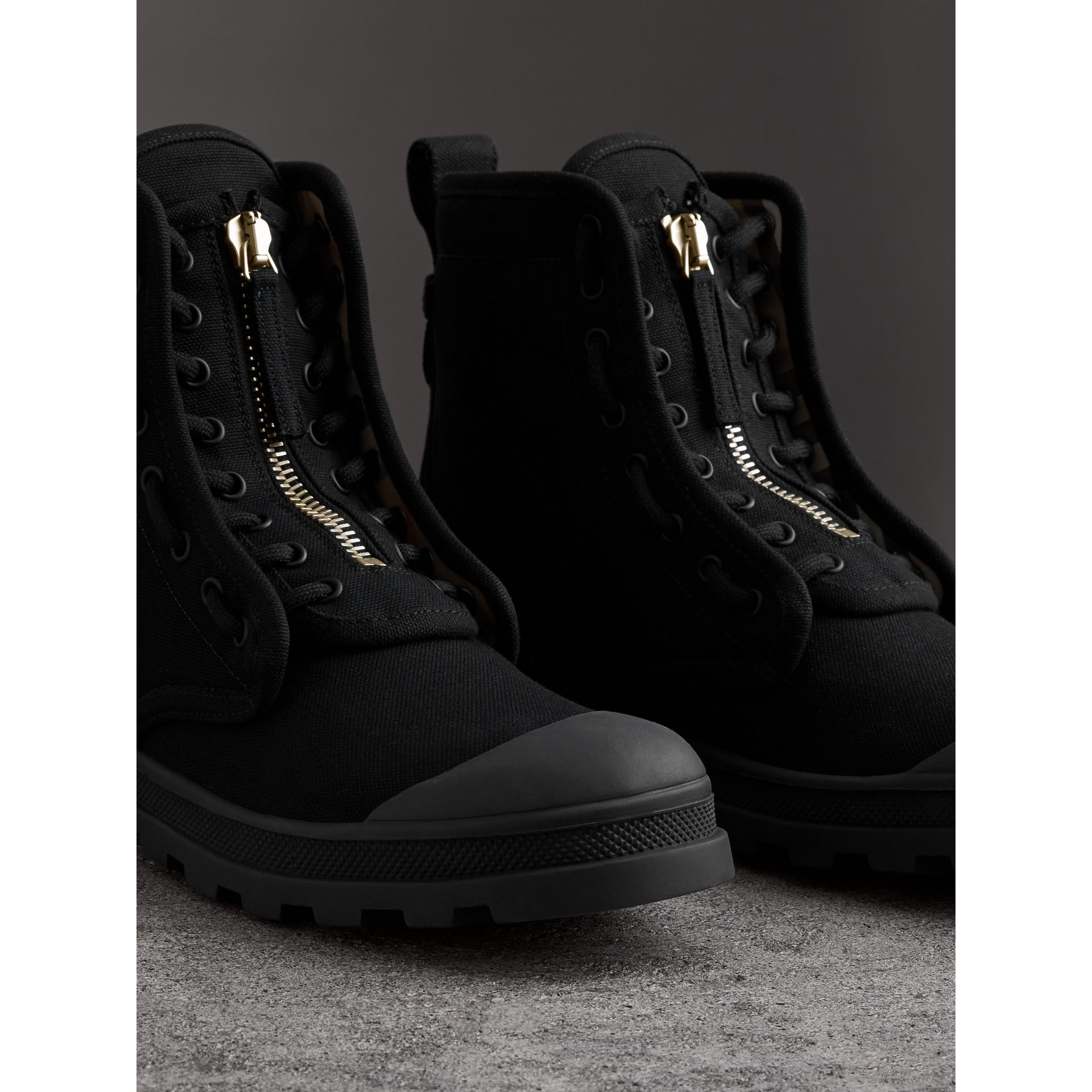 Zipped Cotton Canvas Boots in Black - Men | Burberry - gallery image 4