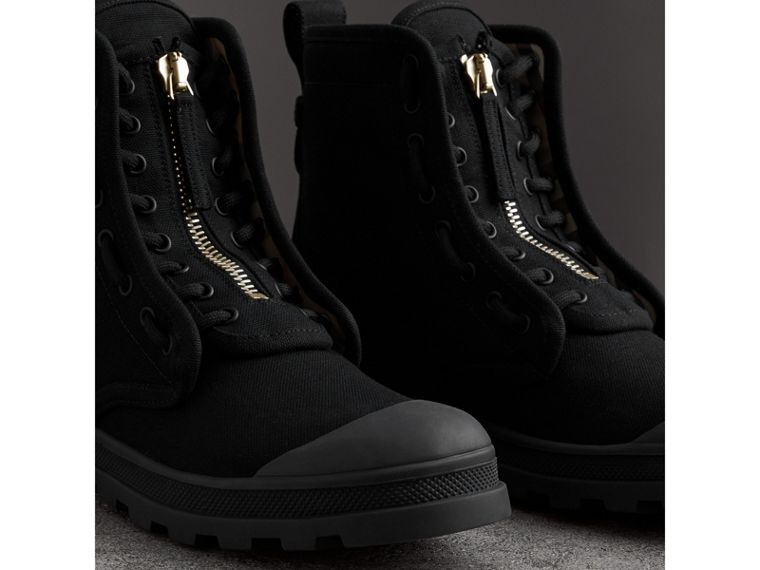 Zipped Cotton Canvas Boots in Black - Men | Burberry United Kingdom - cell image 4